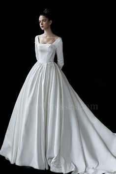 Princess Ball Gown Square Neckline Long Sleeves Sheer Back Wedding Dress With Appliques - Vintage Wedding Dresses Perfect Wedding Dress, Cheap Wedding Dress, Satin Wedding Gowns, Square Wedding Dress, Wedding Dress Silhouette, Western Wedding Dresses, Princess Ball Gowns, Bridal Gowns, Beautiful Dresses
