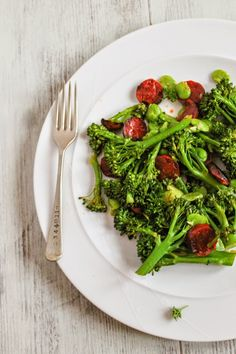 Tenderstem broccoli with crispy chorizo and broad beans. Great as a healthy main course, delicious side dish or as part of a tapas spread.