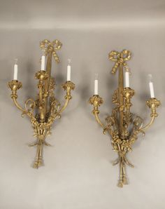 Antiques Incredible Massive Pair Of Louis Xiv Style Dore Bronze Sconces With Lions 1880
