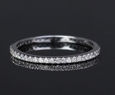 Thin Design - SI/H Pave Diamond Ring Eternity Wedding Band Matching Band, 14K White Gold, Yellow Gold and Rose Gold Available