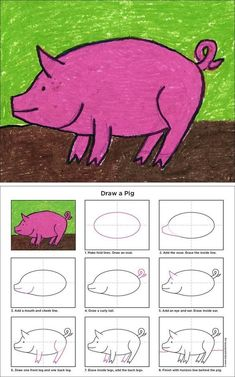 Draw an Easy Pig · Art Projects for Kids Drawing Lessons, Art Lessons, Drawing For Kids, Art For Kids, Pig Drawing, Drawing Art, Projects For Kids, Art Projects, Classe D'art