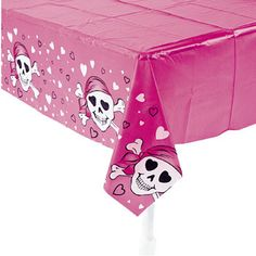 Pink Pirate Girl Tablecloth (Plastic).  Having a pirate party? Then decorate with this plastic tablecloth! These themed table covers also make cleanup speedy!   1.37 m x 2.74 m