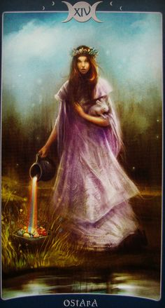 "The Temperance card is also known as Daughter of the Reconcilers and the BringerForth of life and is ruled by Sagittarius. It represents the binding together of fire and water and the unification of opposites. But what does this mean in real Temperanceterms?...Image from ""Book of Shadows Tarot"" © Barbara Moore"