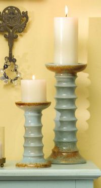 Ceramic Aqua Candleholders Beach Decor | Nautical Decor | Tropical Decor | Coastal Decor