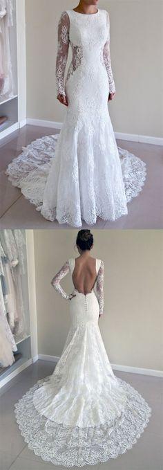 elegant mermaid long sleeves lace wedding dress with sweep train, fashion open back mermaid bridal dress with sweep train