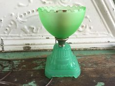 Antique Art Deco Glass Jadite Lamp Small Table Lamp Pull Chain Boudair lamp by Holliezhobbiez on Etsy