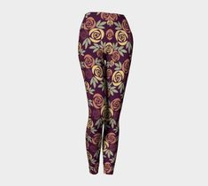 Dark Rose Leggings, Leggings by Brittany Bonnell. Printed leggings with compression fit performance fabric milled in Montreal Shop Art, Design Lab, Printed Leggings, Workout Leggings, Brittany, Vibrant, Dark, Rose, Artist
