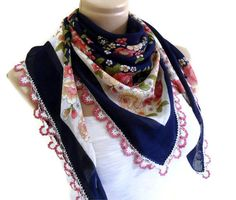 traditional authentic square Navy blue scarf by likeknitting, $29.99