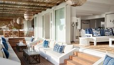 High on the mountainside overlooking Plettenberg Bay lagoon, Indigo House commands a spectacular view and boasts signature indigo, white and wood interiors. Home Room Design, House Design, Miami Beach House, Casa Patio, Living Spaces, Living Room, Outdoor Living, Outdoor Furniture Sets, House Plans