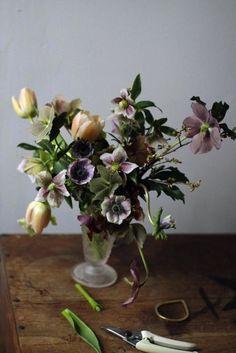 vårbukett, anemoner, tulpaner och julrosor