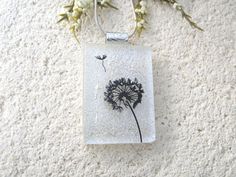Dandelion Wish Necklace Dichroic Glass Pendant Fused by ccvalenzo