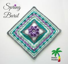 Spring Burst Square Crochet Square, free pattern by Pattern-Paradise.com