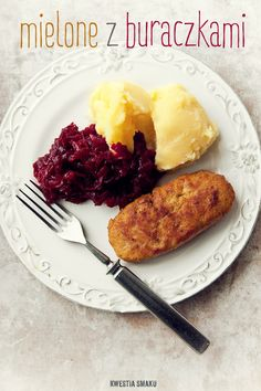 Polish style minced meat cutlets served with potato puree and fried grated beets