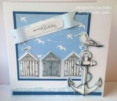 Designed by Lisa Baker Harbour Boulevard Your Cards, Men's Cards, Greeting Cards, Craft Cards, Nautical Cards, Nautical Theme, Birthday Cards For Men, Man Birthday, Beach Cards