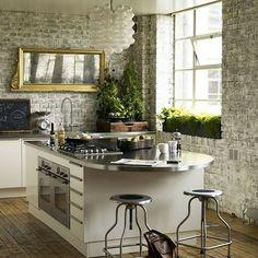 brick walls in the kitchen