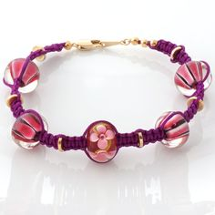 Lampwork beads macrame bracelet  fuchsia by CraftemallHandmade, $15.00 Jewelry Ideas, Unique Jewelry, Macrame Bracelets, Handmade Accessories, Lampwork Beads, Bead Weaving, Ireland, Beading, Craft Ideas