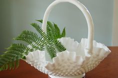 Large Fenton White Milk Glass Hobnail Basket, Milk Glass Bowl, Shabby Chic Centerpiece, Wedding  I have this