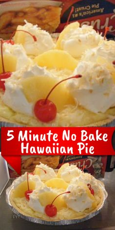 5 Minute No Bake Hawaiian Pie Ingredients 1 can chilled crushed pineapple in a heavy syrup, undrained 1 to 2 Köstliche Desserts, Summer Desserts, Delicious Desserts, Yummy Food, Hawaiian Pie, Crushed Pineapple, Pineapple Slices, Baking Recipes, Cake Recipes
