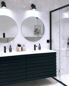 "BO og REIS on Instagram: ""Good morning🖤 #boogreis #marmorbad #marmordetails #nordic_style #whiteinterior_summer #regineinspo #scandinavianhomes #vakrehjemoginterior…"" Nordic Style, My House, Trends, Mirror, Bathroom, Instagram, Interior, Summer, Furniture"