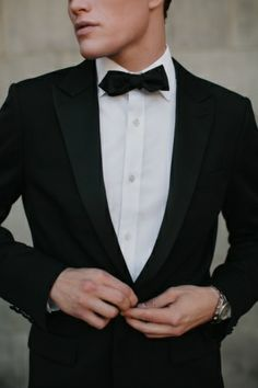 2014 Wedding Trends | Black Weddings | Black Wedding Inspiration | Black Suit + Bow Tie