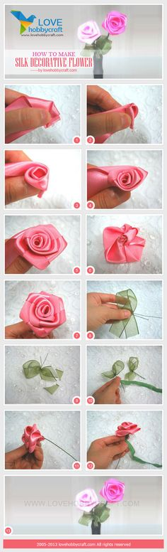 how to make silk decorative flower for brooch bouquets