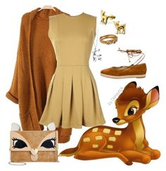 """""""Bambi Disneybound(part 2)"""" by disneyholi ❤ liked on Polyvore featuring TheP., Betsey Johnson, Michael Kors, Origami Jewellery and Salvatore Ferragamo"""