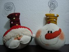Snowman and Santa Ornaments Christmas Clay, Felt Christmas Ornaments, Santa Ornaments, Primitive Christmas, Christmas Love, Christmas Snowman, Christmas Decorations, Christmas Balls, Snowman Crafts