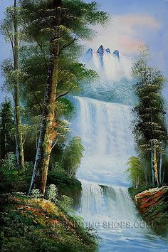 "Framed Art Reproduction Oil Famous Landscape Painting Mountain Sierra Waterfall, Size: 24"" x 36"", $104. Url: http://www.oilpaintingshops.com/framed-art-reproduction-oil-famous-landscape-painting-mountain-sierra-waterfall-1951.html"