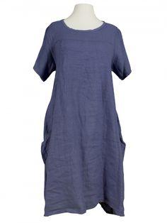 Damen Leinenkleid A-Form, blau von Spaziodonna bei www.meinkleidchen.de