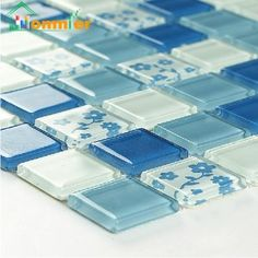Hommier Blue Crystal Mirror Glass Mosaic Tiles Home Elements