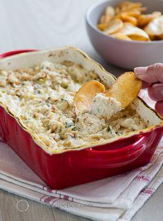 Hot Baked Crab Dip that's hot n' creamy , chunky n' delicious , addicting n' cheesy on BestRecipeBox.com