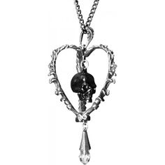 The Death of the Heart necklace by Alchemy Gothic is a black skull trapped inside a heart-shaped cage.