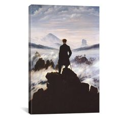 iCanvas The Wanderer Above The Sea of Fog by Caspar David Friedrich... ❤ liked on Polyvore featuring home, home decor, wall art, ocean wall art, ocean home decor, sea wall art and sea home decor