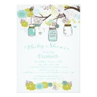 Rustic Country Mason Jar Boys Baby Shower Card