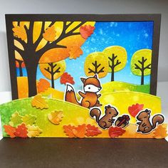 I love, love, love the new Lawn Fawn release! ❤️ #autumn #autumnlove #favoritetimeoftheyear #lawnfawn #lawnfawnstamps #lawnfawndies #popupcard #stitchedhillsidepopup #leafytreebackdrop #cheerychristmas #card #cardmaking #cardmakinghobby #cardmakingisfun #crafting #craftingaddict #papercrafting #ranger #distressink #copic #copics #copicsketch