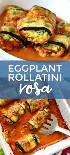 Eggplant Rollatini Rosa is a meatless dinner that features cheese and spinach stuffed eggplant baked in a creamy mixed Rosa Sauce. It is the perfect dinner recipe for your next special occasion! #eggplant #dinnerrecipes #stuffedeggplant