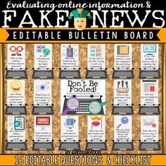 Fake News & Evaluating Online Information. School Library Lessons, Middle School Libraries, Student Information Sheet, Information Literacy, Literacy Bulletin Boards, Preschool Bulletin, Digital Citizenship Posters, Digital Literacy, Media Literacy