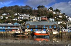 High and dry at Looe, Cornwall, England.