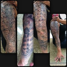 My finished sleeve. Tattoo. Tree. Rain. Storm. Ink. Black and grey.