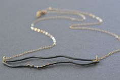 Organic Linear Necklace simple modern necklace in by metamorph