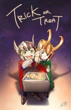 Marvel - Chibi Loki and Thor Thor X Loki, Marvel Art, Marvel Dc Comics, Marvel Avengers, Baby Marvel, Johnlock, Destiel, Thor Film, Hiro Big Hero 6