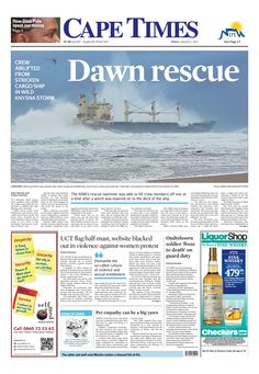 News making headlines: Dawn rescue: Crew airlifted from stricken cargo ship in wild Knysna storm