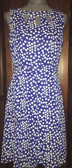 ILE New York Blue White Polka Dot Lined Dress 8 #ILENewYork #FitFlare