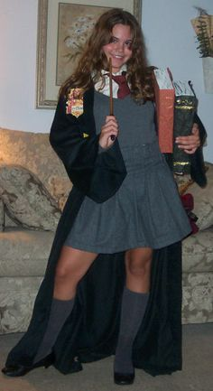 With longer skirt - Hand sewn Hermione costume from Harry Potter.