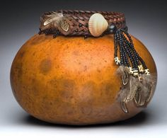 Banded Feathers Gourd Art vessel by KarolsKreationsGA on Etsy, $89.00