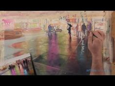Join artist Paul Jackson to see how to paint the vibrant lights and bustling atmosphere of a city at night in this watercolor painting demonstration! Watercolor Video, Watercolour Tutorials, Watercolor Artists, Watercolor Paintings, Watercolors, Watercolor Classes, Painting Tutorials, Painting Techniques, Art Studio Lighting