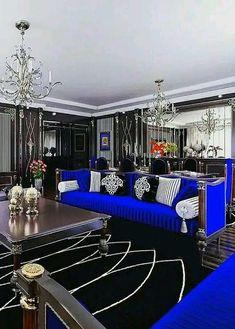 El color preferido de mi hijo dawilson Cute Living Room, Blue Living Room Decor, Glam Living Room, Blue Home Decor, Living Room Designs, Winter Home Decor, Winter House, Fall Decor, Home Interior Design