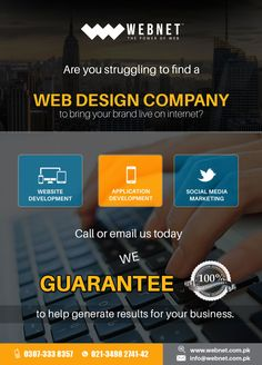 We will always provide you with the Best value in Web Design and SEO Services. Your 100% Satisfaction is our Guaranteed!!  Contact us : 021- 34982741-42 www.webnet.com.pk info@webnet.com.pk
