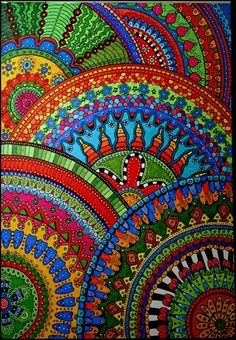 Colorful Zentangles and Doodles