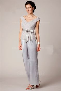 Pant Suits V-neck Ankle-length Chiffon Lace Mother of the Bride Dress Mother Of Groom Outfits, Mother Of The Bride Suits, Mature Wedding Dresses, Wedding Party Dresses, Mob Dresses, Ball Dresses, Evening Dresses, Formal Cocktail Dress, Groom Dress